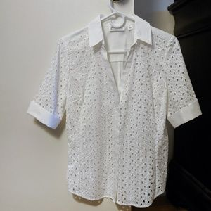 White NY&C Eyelet Button-Down Shirt, Size S (NWT)